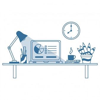 Arbeitsbereich oder büro für geschäftsmann oder grafikdesigner mit flachem strichkunststil