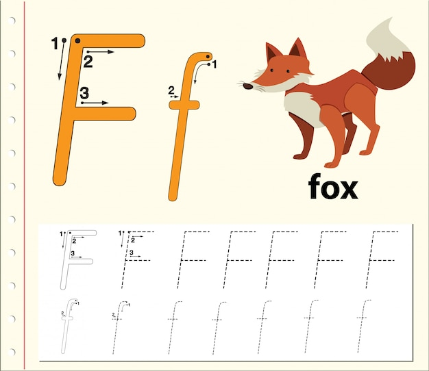 Arbeitsblätter für buchstabe f zur verfolgung des alphabets