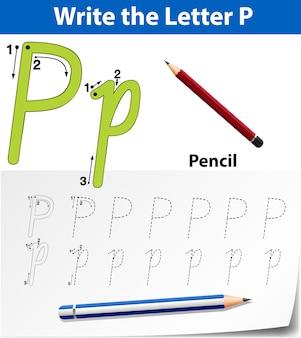 Arbeitsblätter für buchstaben-p-tracing-alphabete