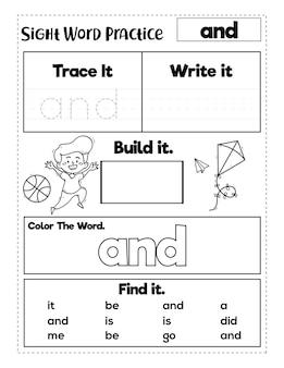 Arbeitsblätter zum üben von sehwörtern im kindergarten