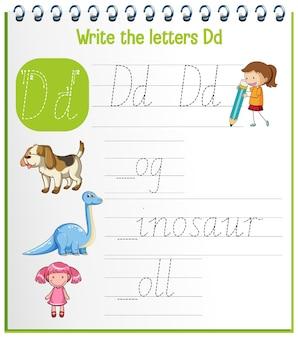 Arbeitsblätter zur verfolgung des englischen alphabets