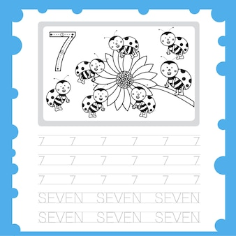 Arbeitsblatt ausbildung schreibübungsnummer und färbung für kind sieben