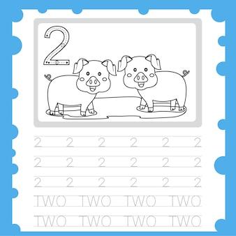 Arbeitsblatt ausbildung schreibübungsnummer und färbung für kind zwei