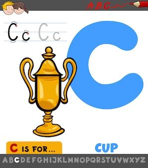 Arbeitsblatt des buchstaben c mit karikaturschale