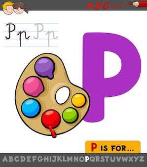 Arbeitsblatt des buchstaben p mit palette mit farben
