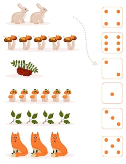 Arbeitsblatt für den mathematik- und rechenunterricht zum thema herbst. für vorschul- und kindergartenkinder, die zahlen und zählen lernen. vektor-illustration