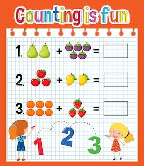 Arbeitsblatt für die mathematische zählung