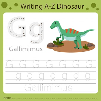 Arbeitsblatt für kinder, schreiben von az dinosaurier g.