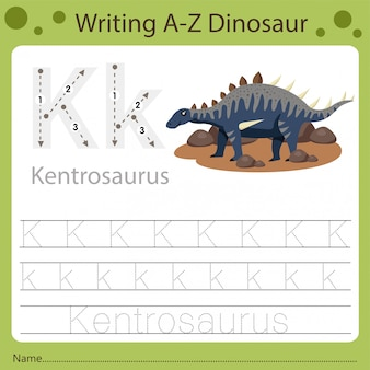 Arbeitsblatt für kinder, schreiben von az dinosaurier k.
