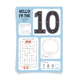 Arbeitsblatt nummer 10 mit labyrinth Kostenlosen Vektoren