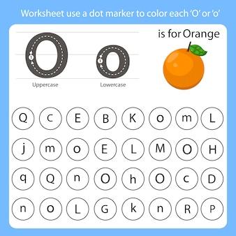 Arbeitsblatt verwenden eine punktmarkierung, um jedes o einzufärben