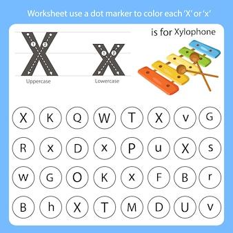 Arbeitsblatt verwenden sie eine punktmarkierung, um jedes x einzufärben