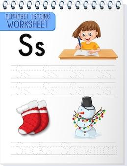 Arbeitsblatt zum alphabet-tracing mit buchstaben s und s