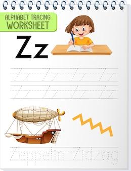 Arbeitsblatt zum alphabet-tracing mit den buchstaben z und z