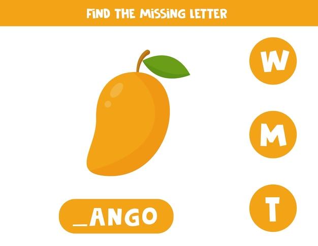 Arbeitsblatt zum bildungsvokabular für kinder. finde den fehlenden buchstaben. niedliche mangofrucht im karikaturstil.