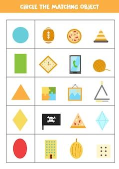 Arbeitsblatt zum erlernen geometrischer formen. passende objekte.