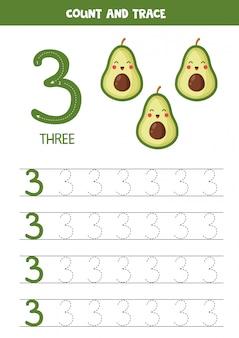Arbeitsblatt zum lernen von zahlen mit niedlichen kawaii avocados. nummer drei.