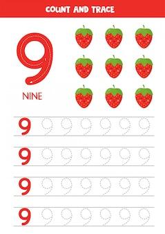 Arbeitsblatt zum lernen von zahlen mit niedlichen kawaii erdbeeren. nummer neun.