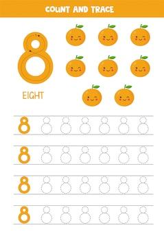 Arbeitsblatt zum lernen von zahlen mit niedlichen kawaii orangen. nummer 8.