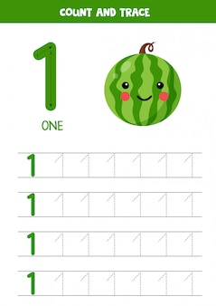 Arbeitsblatt zum lernen von zahlen mit niedlichen kawaii wassermelone. nummer 1.