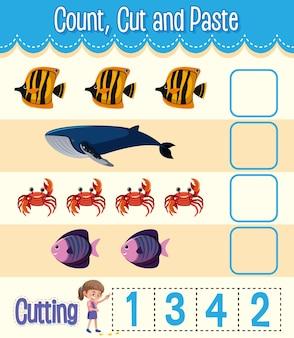 Arbeitsblatt zum zählen, ausschneiden und einfügen von mathematik für kinder