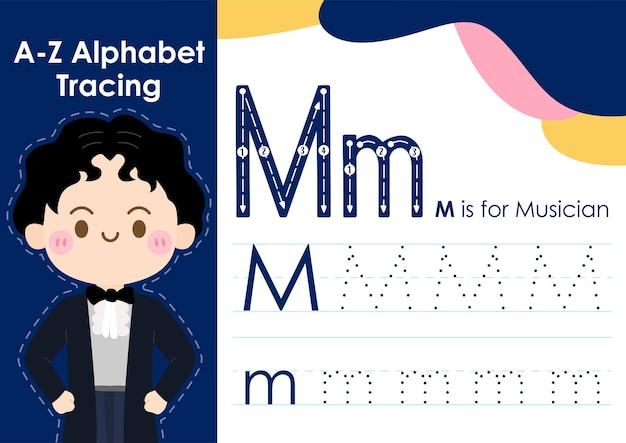 Arbeitsblatt zur alphabetverfolgung mit berufsbezeichnung als musiker