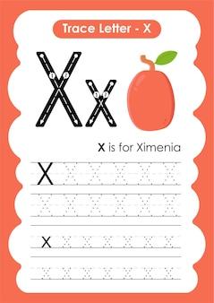 Arbeitsblatt zur alphabetverfolgung mit buchstabe x ximenia