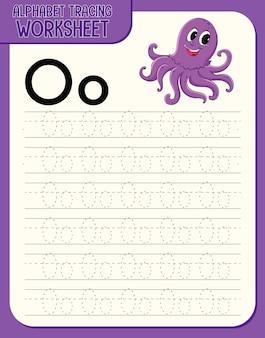 Arbeitsblatt zur alphabetverfolgung mit den buchstaben o und o Kostenlosen Vektoren