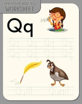 Arbeitsblatt zur alphabetverfolgung mit den buchstaben q und q