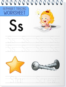 Arbeitsblatt zur alphabetverfolgung mit den buchstaben s und s