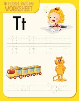 Arbeitsblatt zur alphabetverfolgung mit den buchstaben t und t