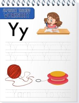 Arbeitsblatt zur alphabetverfolgung mit den buchstaben y und y