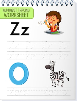 Arbeitsblatt zur alphabetverfolgung mit den buchstaben z und z