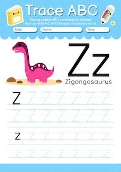 Arbeitsblatt zur alphabetverfolgung mit dinosaurier-vokabularbuchstabe z.