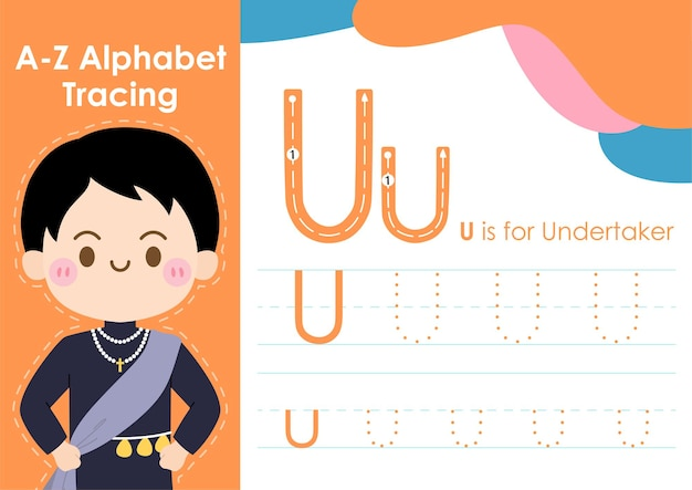 Arbeitsblatt zur alphabetverfolgung mit illustration des berufs als bestatter