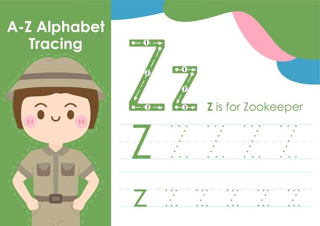 Arbeitsblatt zur alphabetverfolgung mit jobberufsillustration als zookeeper