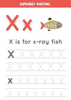 Arbeitsblatt zur alphabetverfolgung mit tierillustration
