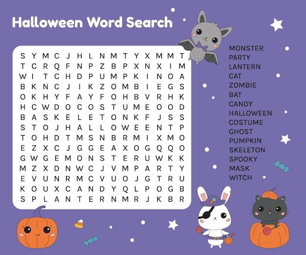 Arbeitsblatt zur halloween-wortsuche für kinder