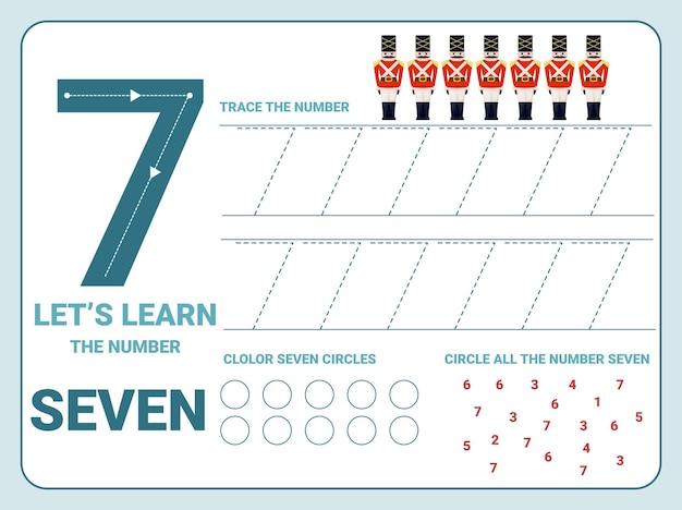 Arbeitsblatt zur verfolgung der nummer sieben