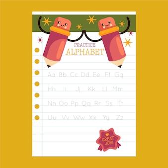 Arbeitsblatt zur verfolgung des pädagogischen alphabets