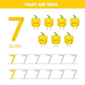 Arbeitsblatt zur verfolgung von zahlen. nummer sieben mit süßen kawaii gelben paprikaschoten.