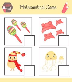Arbeitsbuch mathematik für die vorschulerziehung. rätsel für kinder. lernen sie zu zählen. beispiele lösen.