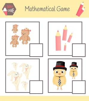Arbeitsbuch zur mathematik im vorschulalter. rätsel für kinder. lerne zu zählen. löse beispiele