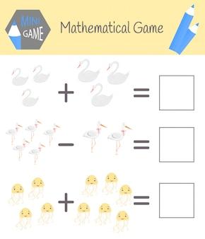 Arbeitsbuch zur mathematik im vorschulalter. rätsel für kinder. lernen sie zu zählen. löse beispiele