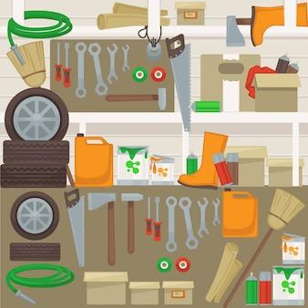 Arbeitsgeräte an der wand in der garage.