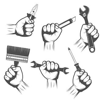 Arbeitsgeräte in händen eingestellt