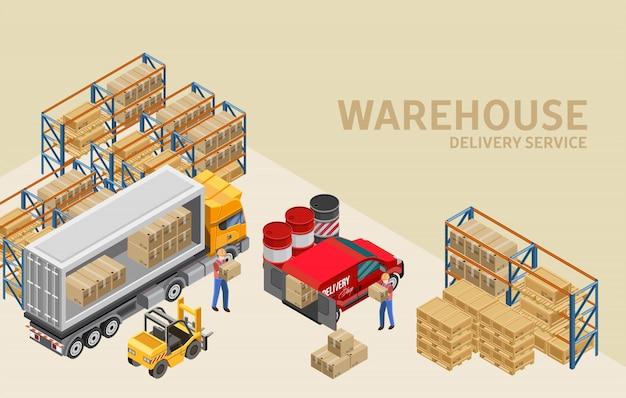 Arbeitskräfte, die lkw und packwagen im lager laden