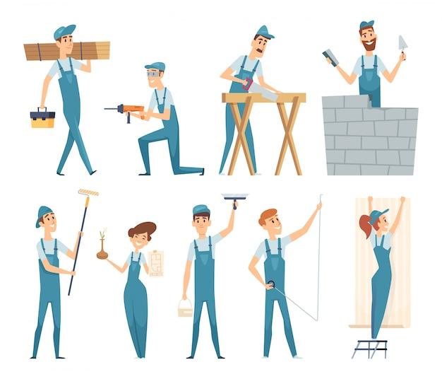Arbeitskräfte. professionelle konstrukteure der männlichen und weiblichen bauherren bei der arbeit maskottchen