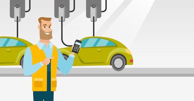Arbeitskraft, die automatisierte fließband für auto steuert