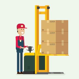 Arbeitskraft, die einen gabelhubwagenstapler mit kästen auf palette drückt